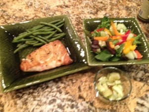 Wild Alaskan Salmon and plenty of vegetables ia a Paleo diet for dry eyes.